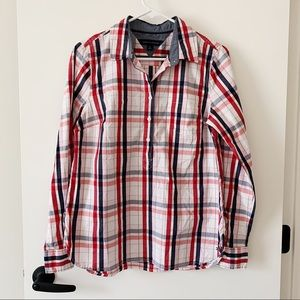 Tommy Hilfiger Long Sleeve Plaid Button Down Logo